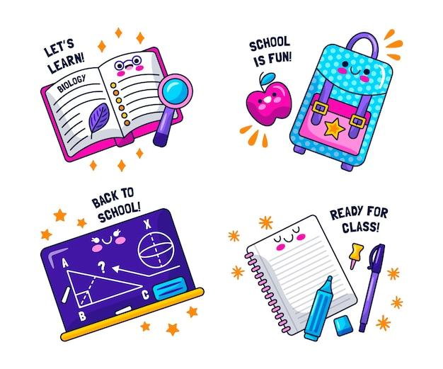 Kawaii terug naar school stickers collectie