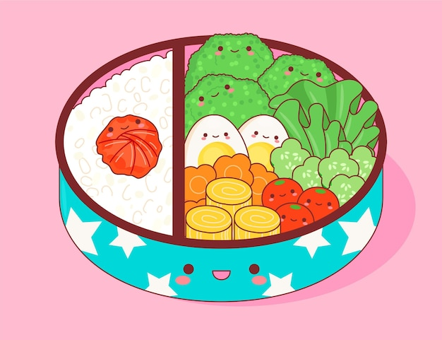 Kawaii umeboshi bento illustratie