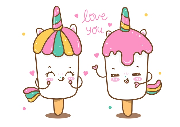 Kawaii unicorn vector ijsje minnaar