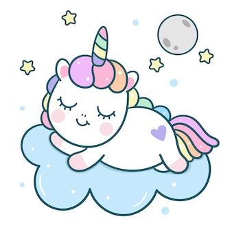Kawaii unicorn vector tekenslaap met maan