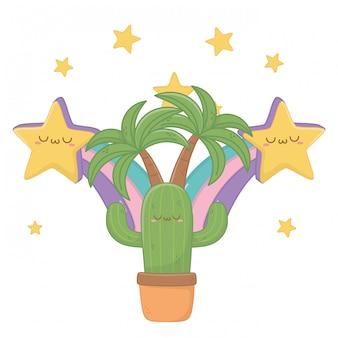 Kawaii van cactus cartoon