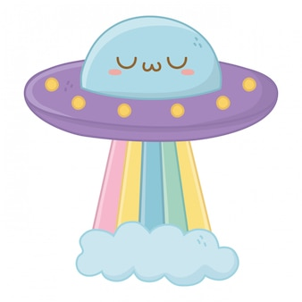 Kawaii van ufo cartoon