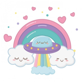 Kawaii van ufo cartoon