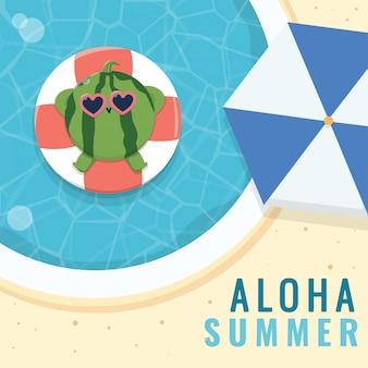 Kawaii van watermeloen mascotte zomer karakter