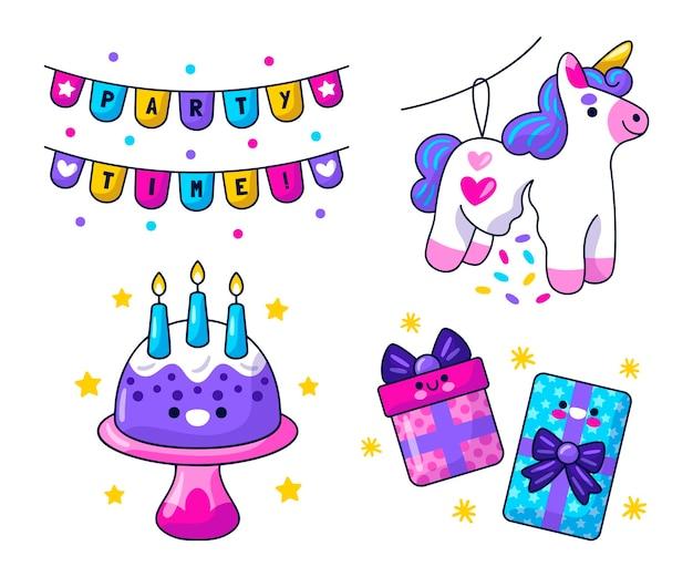 Kawaii verjaardagsviering stickers set