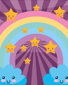 Kawaii wolken regenboog sterren cartoon sunburst