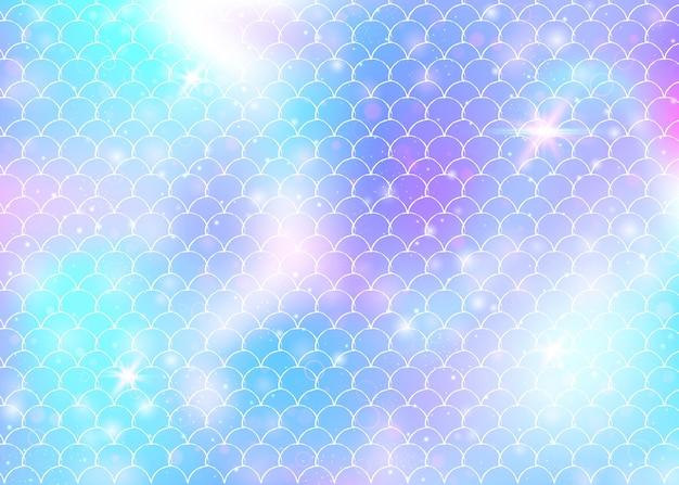Kawaii zeemeermin achtergrond met prinses regenboog schalen patroon.