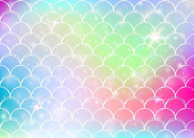 Kawaii zeemeermin achtergrond met prinses regenboog schalen patroon