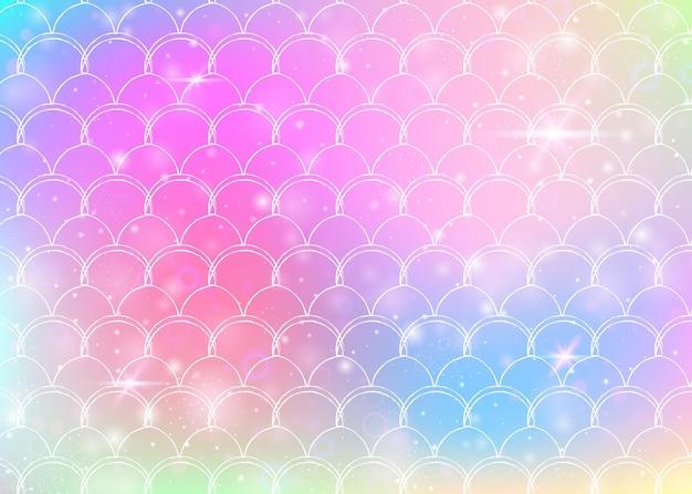 Kawaii zeemeermin achtergrond met regenboog schalen patroon