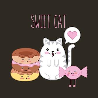 Kawaii zoete kat en donut snoep cartoon vectorillustratie