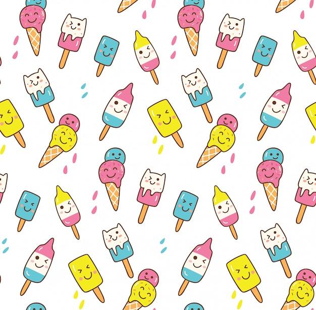 Kawaii zomer achtergrond met ijsje