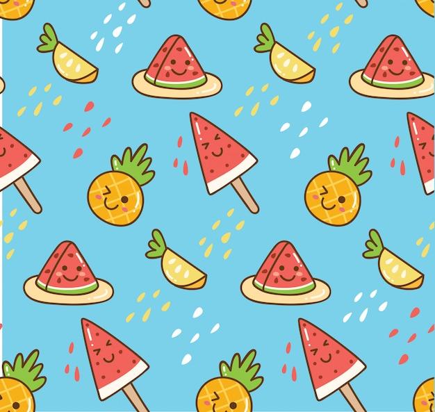 Kawaii zomer achtergrond met watermeloen en ananas