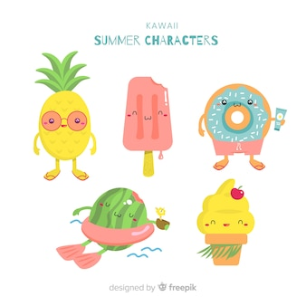Kawaii zomer karakter collectie