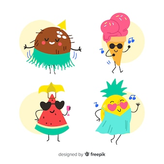 Kawaii zomer karakters