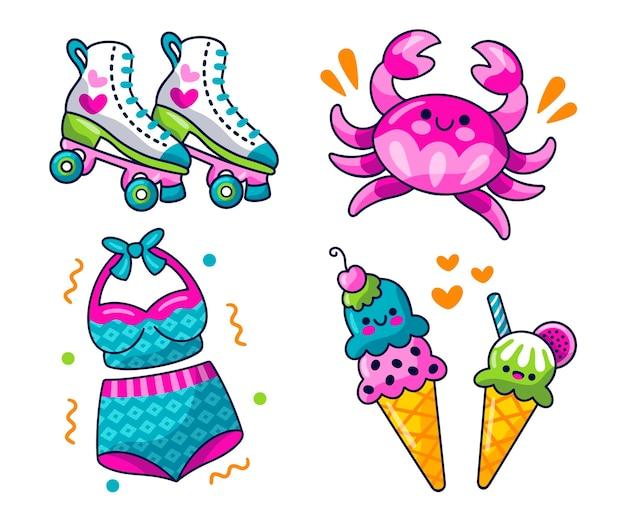 Kawaii zomer stickers set