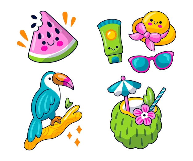 Kawaii zomerstickerspakket