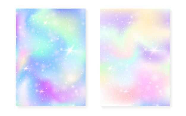 Kawaiiachtergrond met het verloop van de regenboogprinses. magisch eenhoorn hologram.