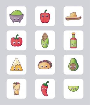 Kawaiistijl van bundel mexicaans voedsel