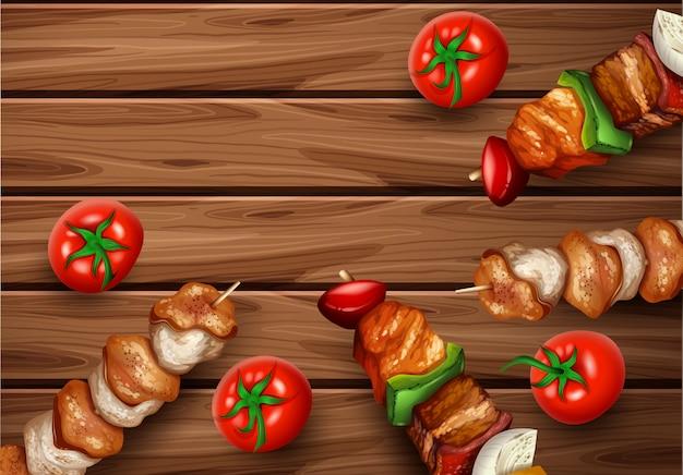 Kebab barbecue op houten achtergrond