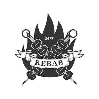 Kebab embleem sjabloon. fast food. element voor logo, label, embleem, teken. beeld