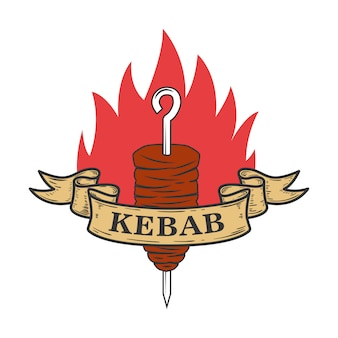 Kebab embleem sjabloon. fast food.