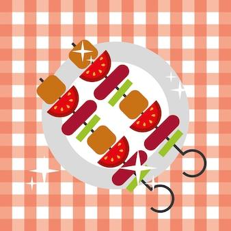 Kebab spies barbecue warm eten picknick