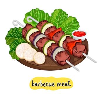 Kebabs op snijplank