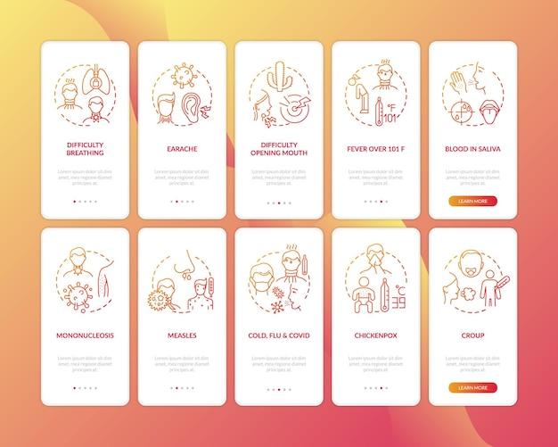 Keelontsteking onboarding mobiele app-paginascherm met ingestelde concepten