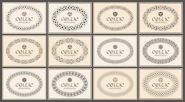 Keltische knoop gevlochten ovaal frame grens ornament. a4-formaat.
