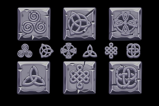 Keltische symbolen. cartoon set keltische pictogrammen op stenen plein
