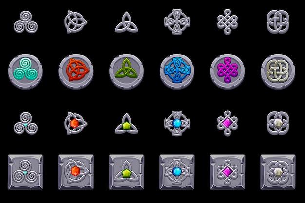 Keltische symbolen. stenen munten en vierkant met keltisch symbool. cartoon set keltische pictogrammen.