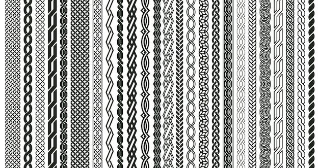 Keltische vlechtpatronen. gevlochten ierse patroon naadloze randen, geknoopte vlecht ornamenten geïsoleerde vector illustratie set. geweven keltische vlechtelementen. gedraaid koord en gevlochten randpatroon