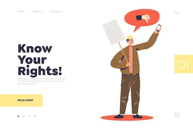 Ken uw rechten bestemmingspagina concept met protesterende man