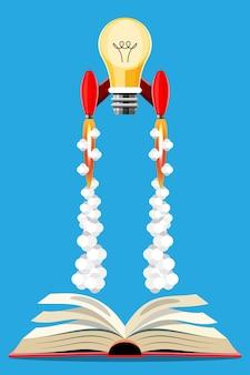 Kennis concept idee. cartoon afbeelding idee rocket lancering formulier boek. illustratie in 3d-stijl