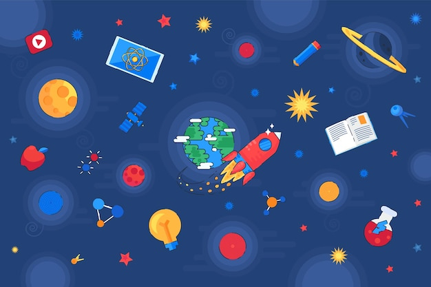 Kennis en onderwijs universum galaxy vector. onderzoeks- en ontdekkingsruimte. vliegende raket en satelliet, planeet en ster, educatief boek en laboratoriumfles. platte cartoonillustratie