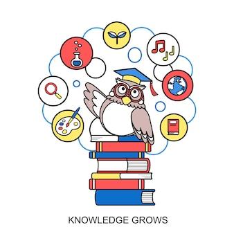 Kennis groeit concept met een uil in lijnstijl