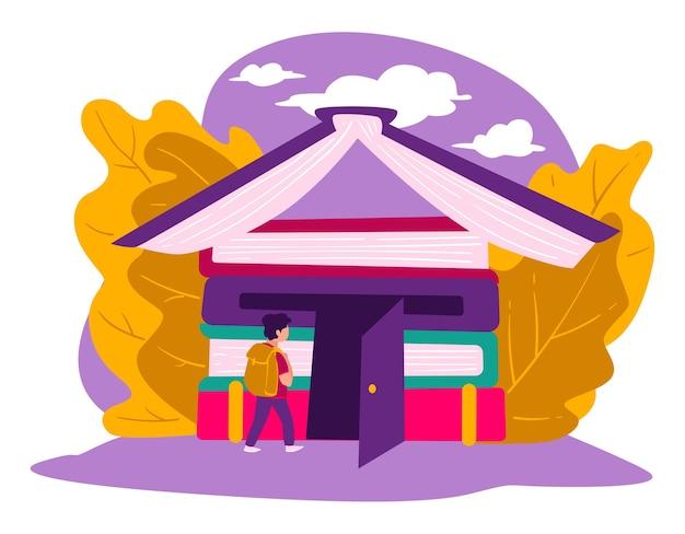 Kennis opdoen en vaardigheden ontwikkelen op school. onderwijsinstelling, universiteit of hogeschool. jongen met schooltas wandelen in gebouw gemaakt van boeken, vector in vlakke stijl illustratie