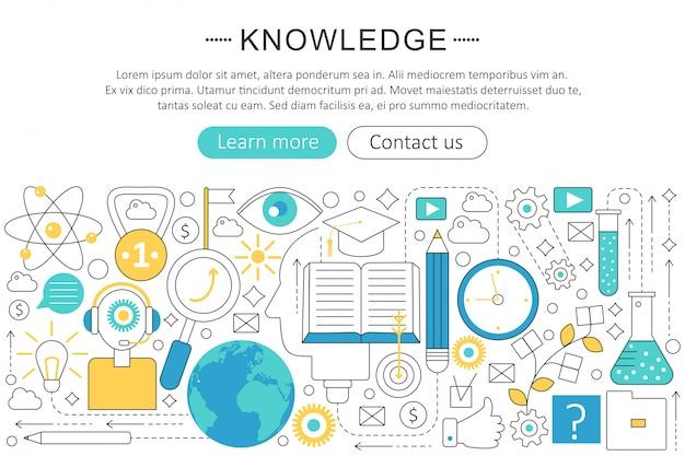 Kennis zoeken platte lijn concept