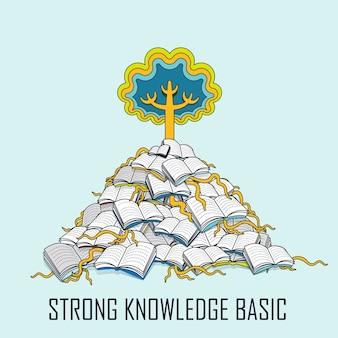 Kennisconcept: een boom groeit op uit een stapel boeken in lijnstijl