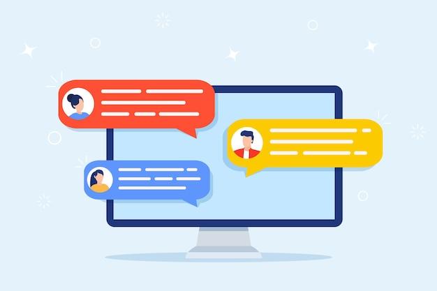 Kennisgevingen van computer online chat.
