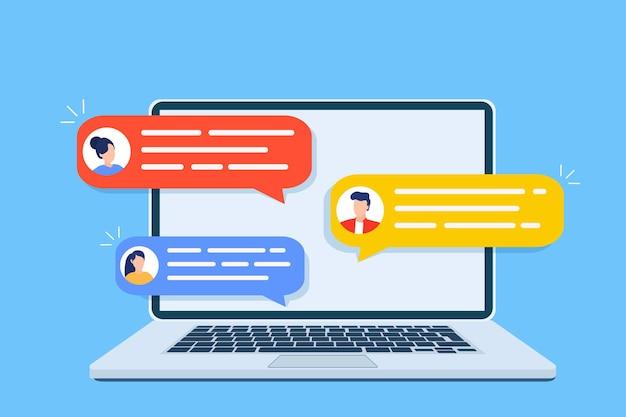 Kennisgevingen voor online chatten op de computer.