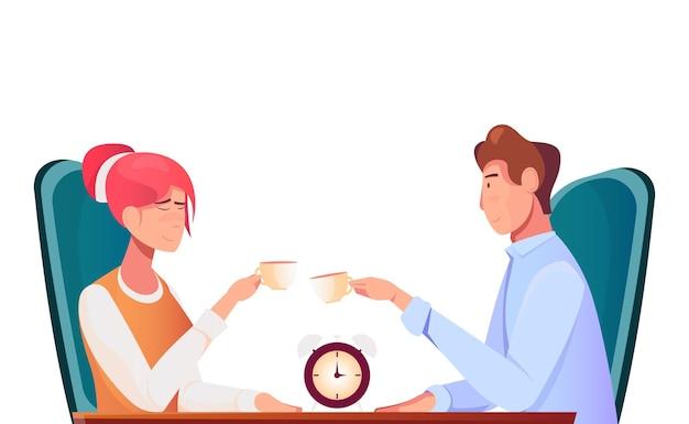 Kennismaking romantische compositie met karakters van man en vrouw die koffie drinken aan tafel met wekker