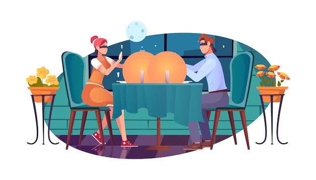 Kennismaking romantische compositie met restaurantdecor en koppel aan tafel met geblinddoekte ogen