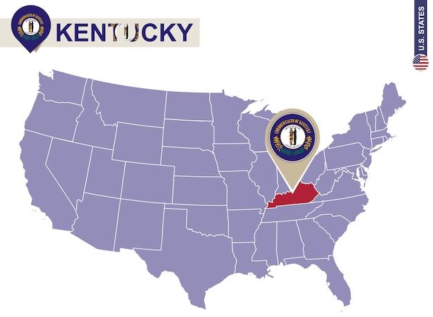 Kentucky staat op de kaart van de v.s. kentucky vlag en kaart. amerikaanse staten.