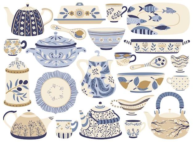 Keramisch aardewerk porselein theepotten waterkoker beker mok kom plaat kruik faience keuken servies servies table