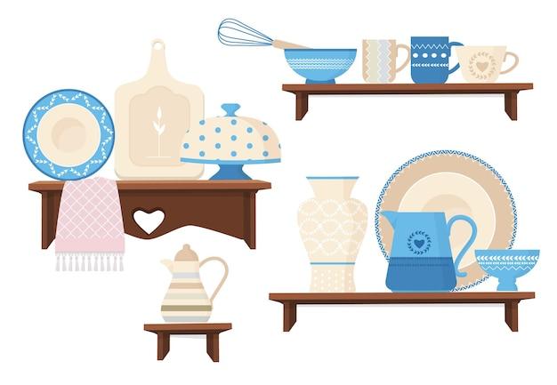 Keramisch keukengerei. cafe restaurant apparatuur decoratieve handgemaakte gekleurde gerechten mokken theepotten plateren stijlvol kookgerei.
