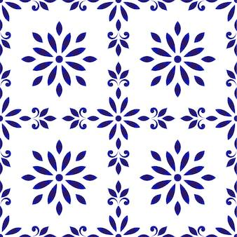 Keramisch tegelpatroon, naadloos porseleindecor, schattige porseleinen achtergrond, blauwe en witte bloemenachtergrond voor ontwerpvloer, behang, textuur, stof, papier, betegeld en plafond, vectorillustratie