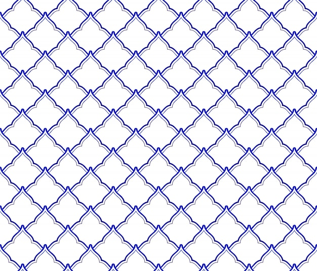 Keramisch thais patroon, porselein naadloos decor met golven