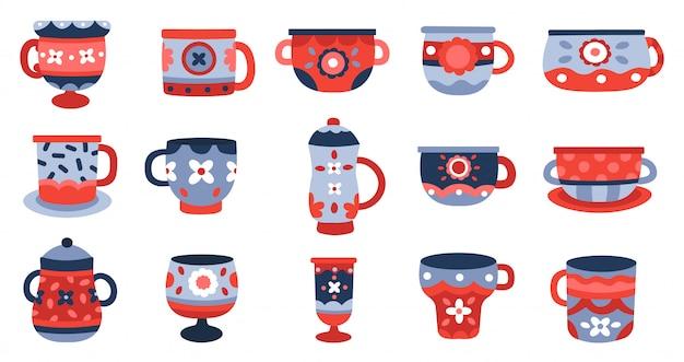 Keramische cups. keuken porseleinen beker, servies keramiek mok, servies kleurrijke beker collectie illustratie iconen set. aardewerk en faience, handgemaakt vintage serviesgoed