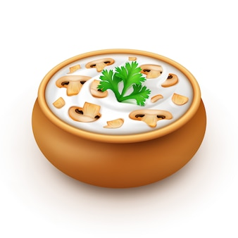 Keramische pot met saus met peterselie en champignons